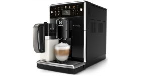 Philips автоматична еспресо машина Saeco PicoBaristo 13 напитки, Вградена първокласна кана за мляко, Предна част с цвят Piano Black, 12-степенна регулируема мелачка