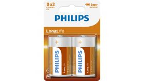 PHILIPS R20L2B/10 Batteries PHILIPS Zinc-Chloride R20 1.5V Longlife 2 Pcs. Blister