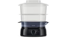 Philips Уред за готвене на пара Daily Collection 5 L, 900 W, съд за ориз/супа, инфузер за подправки и аромати, контейнер за яйца, цвят черен