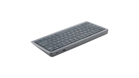 Click&Touch, wireless multimedia keyboard for Smart-TV with touchpad embedded into keys, auto-switch between keyboard and touchpad, connect to 5 devices via Bluetooth, USB dongle and Type-C, LED status indicators, built-in battery, space grey color