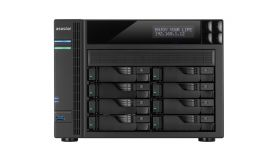 Asustor AS6208T, 8-Bay NAS, Intel Celeron 1.6GHz Quad-Core (up to 2.24 GHz), 2GB DDR3, GbE x 4, HDMI, SPDIF, PCI-E (10GbE ready), USB 3.0 & SATA, LCD Panel, WoL, System Sleep Mode, with lockable tray