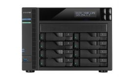 "Asustor AS7008T, 8-Bay NAS, Intel Core i3 3.5 GHz Dual-Core, 2GB DDR3( max. 16GB),  8x 2.5"" / 3.5"" SATAII / SATAIII or SSD GbE x 2, HDMI, SPDIF, PCI-E (10GbE ready), USB 3.0 & SATA, LCD Panel, WoL, System Sleep Mode, 24 Ch. IP Cam(4 license incl.)"