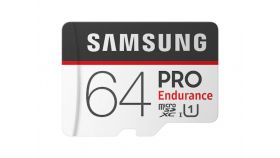 Samsung 64 GB micro SD Card PRO Endurance, Adapter, Class10, Waterproof, Magnet-proof, Temperature-proof, X-ray-proof, Read 100 MB/s - Write 30 MB/s