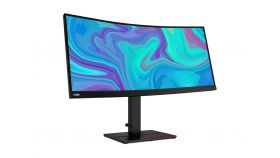 Lenovo ThinkVision T34w-20 WQHD, Vertical Alignment, Curved, 21:9, 3440x1440, 17 ms, 350 nits, 3000:1, HDMI, DP, USB Type-C Gen1, Tilt, Swivel,Height Adjust Stand