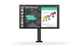"LG 27QN880-B, 27"" Wide LED, QHD Ergo (2560x1440) IPS Display, sRGB 99%, 75Hz, 5ms, 1000:1, Mega DFC, 350 cd/m2, AMD FreeSync, MAXX Audio 5W x 2, USB type-C, HDMI, Reader Mode, DisplayPort, Headphone out, Tilt, Height (Range), Swivel, Pivot, Black"