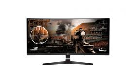 """LG 34UC79G-B, 34"""" Curved LCD AG, IPS Panel, CINEMA Screen, 5ms GTG tual 1ms with tion Blur Reduction, 250 cd/m2, 21:9, Wide FHD 2560 x 1080, HDMI, DisplayPort, Audio Line-out, Headphone out, FreeSync, Tilt, Hight adjustable"""