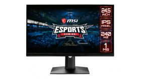 "MSI Optix MAG251RX, 24.5"", 1ms, 240Hz, IPS, FHD 1920x1080, AG, DisplayHDR 400, G-SYNC Compatible, FreeSync, Gaming OSD, 400 nits, Contrast 1000:1, DCR 100M:1, 2 x HDMI 2.0, DP 1.2a, 1x USB C (DP alt.), 1x Earphone, Tilt, Heigh Adj., VESA100, Frameles"