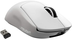 Logitech G Pro X Superlight Wireless Mouse, Lightspeed Wireless 1ms, HERO 25K DPI Sensor, 400 IPS, Onboard Memory, >63g, White