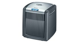 Beurer LW 220 air washer in black; Air humidification by cold evaporation; water level sensor, water level gauge and safety switch-off; 40m2
