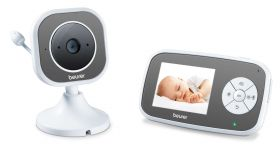 """Beurer BY 110 video baby monitor,  2.8"""" LCD colour display,infrared night vision function,4 gentle lullabies,Intercom function,Motion and sound alarm,Range of up to 300 m,The monitor is compatible with up to 4 cameras"""