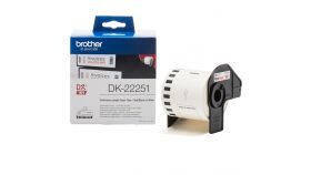 Brother DK-22251 Roll, Black and Red on White Continuous Length Paper Tape, 62mm x 15.24m