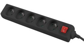Lanberg power strip 3m, 5 sockets, french with circuit breaker quality-grade copper cable, black