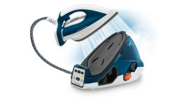 Tefal GV7850E0 Pro Express white & blue, fast heat up 2min - 3 setting - 6,9 bars - 120g/min - steam boost 450g/min - airglide autoclean soleplate - removable water tank 1,6L - auto off - eco - calc collector - lock systеm