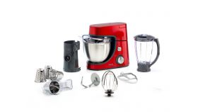 Tefal QB514G38, Masterchef Goumet red, 1100W, 4,6l ss bowl, pastry kit, 4 cones,1,5l plastic blender