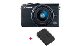 Canon EOS M100, black + EF-M 15-45mm f/3.5-6.3 IS STM + Canon battery pack LP-E12 for EOS-M