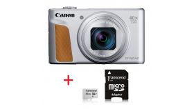 Canon PowerShot SX740 HS, Silver + Transcend 32GB microSD UHS-I U1 (with adapter)
