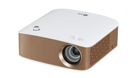 LG PH150G Portable MiniBeam Projector, Built-in type to 2.5 hour battery life,RGB LED, LCoS , HD (1280x720), 100 000:1, 130 ANSI Lumens, HDMI (MHL), WiDi, USB-A, Speaker, White