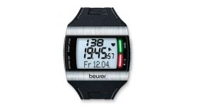 Beurer PM 62 Heart rate monitor with chest strap,patented heart rhythm LED, analogue transmission, ECG heart rate, calorie consumption, fitness test, date, time, stopwatch, alarm, illuminated display, storage bag, chest strap, bycicle mounting