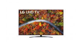 "LG 55UP81003LA, 55"" 4K IPS UltraHD TV 3840 x 2160, DVB-T2/C/S2, webOS Smart TV, ThinQ AI, Quad Core Processor 4K, WiFi 802.11ac, HDR10 PRO 4K/2K, AI Sound, Voice Controll, Miracast / AirPlay 2,  HDMI, CI, LAN, USB, Bluetooth, Crescent Stand, Rocky Bl"