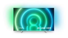 """Philips 50PUS7956/12, 50"""" UHD 4K LED 3840x2160, DVB-T2/C/S2, Ambilight 3, HDR10+, HLG, Android 10, Dolby Vision, Dolby Atmos, Quad Core Pixel Plus Ultra HD, 60Hz, BT 5.0, HDMI 2.1 VRR, ARC, USB, Cl+, 802.11n, Lan, 20W RMS, Borderless design, Silver"""