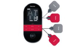 Beurer EM 59 Digital TENS/EMS device with heat function, Pain therapy, Muscle stimulation, Heat function, Electrode positioning indicator, 4 electrodes with gel pads, 2 separately adjustable channels, 64 pre-programmed applications,Countdown timer