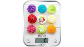 Tefal BC5122V1 Optiss Delicious Cupcakes, ultra slim glass, 5 kg / 1g/ml graduation, tara, liquid function, 2 batteries LR03 AAA included, new markings on product