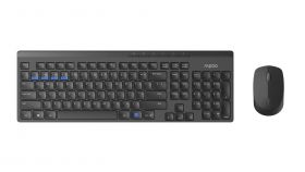Комплект клавиатура и мишка RAPOO 8100M Multi mode, Bluetooth &2.4Ghz, Безжичен, Черен