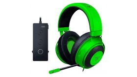 Razer Kraken Tournament Ed. Green gaming headset,Full Audio Controls,THX Spatial Audio,Game/Chat Balance,Frequency response: 12 Hz – 28 kHz,Input power: 30 mW (Max),Drivers: 50 mm, with Neodymium magnets,Analog 3.5 mm