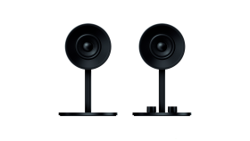 Nommo, Full range 2.0 gaming speakers for PC, Custom woven glass fiber 3-inch drivers for power and clarity, Rear-facing bass ports for powerful lows, Versatile controls for gaming, music and movies, Easy access headphone jack and volume controls