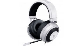 Razer Kraken Pro V2 – Analog Gaming Headset – White–OVAL Ear Cushions. 50 mm audio drivers, Unibody aluminum frame, Fully-retractable microphone with in-line remote, 3.5 mm combined jack.