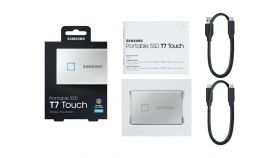 SAMSUNG Portable SSD T7 Touch 500GB extern USB 3.2 Gen.2 metallic silver