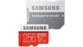 Samsung MicroSD card EVO+ series with Adapter, 256GB , Class10, UHS-1 Grade3 , Speed Read 100MB/s,Speed Write 90MB/s
