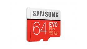 Samsung MicroSD card EVO+ series with Adapter, 64GB , Class10, UHS-1 Grade3 , Speed Read 100MB/s,Speed Write 20MB/s