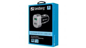 SANDBERG SNB-441-10 :: Зарядно за кола, 1x QC 3.0 + 1x USB, 2.4A