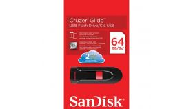 USB памет SanDisk Cruzer Glide, 64GB, USB 2.0, Черен-Червен