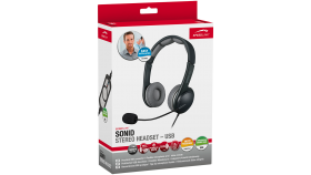 Speedlink SONID Stereo Headset - USB, Flexible microphone arm, Inline remote with volume controller and mute switch, Integrated sound card delivers excellent sound, Cable: 1.9 m, black-grey