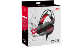 Speedlink MAXTER 7.1 Surround USB Gaming Headset, Padded over-ear earcups, Multicoloured illuminated earcups, microphone, Cable: 3m, black