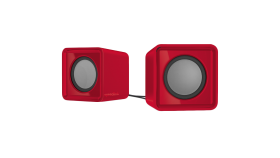 Speedlink TWOXO Stereo Speakers, 5W RMS (2 ? 2,5W), 50 Hz – 20 kHz, USB-powered stereo speakers for any device with a 3.5mm audio output, red