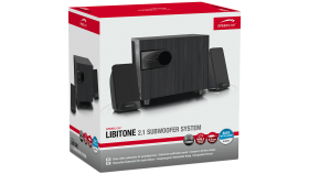 Speedlink LIBITONE 2.1 Subwoofer System, 20Hz – 20kHz, 6W output power, volume and bass controls on the front, Cable lengths: satellites: 150cm; audio input: 120cm; AC adapter/mains cable: 120cm, black