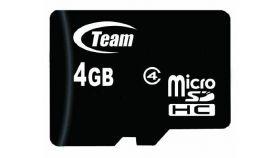 Карта памет TEAM micro SDHC, 4GB, Class 4 с SD адаптер