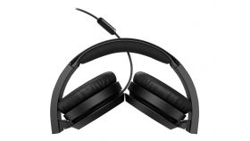 PHILIPS Headphones with mic black 32mm speaker drivers for powerful and dynamic sound