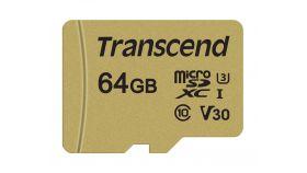 TRANSCEND 64GB microSDXC I Class 10 U3 V30 MLC with Adapter