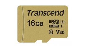 PROMO Памет Transcend 16GB microSDHC I, Class 10, U3, V30, MLC with Adapter, read: up to 95MBs, 60MB/s