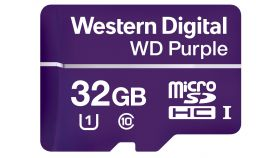МicroSD Card 32GB WD Purple for 24/7 video surveillance cameras, Class 10 UHS Speed Class 1 (U1) microSDHC, read-write: up to 80MBs, 50MBs