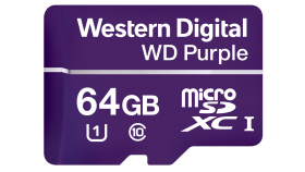 МicroSD Card 64GB WD Purple for 24/7 video surveillance cameras, Class 10 UHS Speed Class 1 (U1) microSDXC, read-write: up to 80MBs, 50MBs