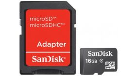Памет SanDisk 16GB Class 4 MicroSD Card with SD adaptor