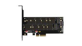 AXAGON PCEM2-D PCI-E 3.0 4x - DUAL M.2 SSD (NVMe + SATA), dual voltage, up to 110mm SSD