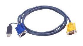ATEN 2L-5206UP :: KVM кабел, HD15 M + USB type A M >> SPHD15 M, 6.0 м