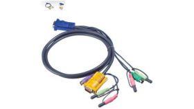 ATEN 2L-5302P :: KVM кабел, HD15 M + 2x PS2 M + 2 Audio plugs >> SPHD15 M + 2 Audio jacks, 1.8 м