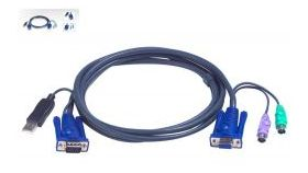 ATEN 2L-5502UP :: KVM кабел, HD15 F + 2x PS2 M >> HD15 M + USB type A M, 1.8 м